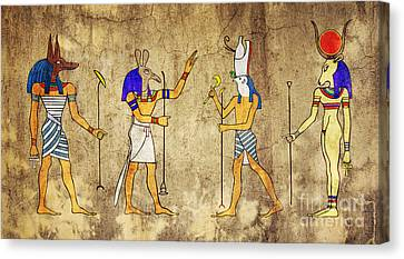 Sacred Artwork Canvas Print - Gods Of Ancient Egypt by Michal Boubin