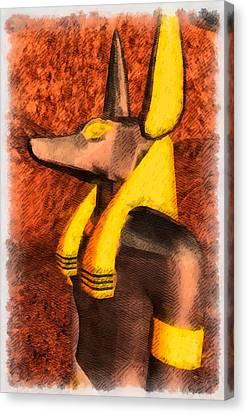 Gods Of Egypt - Anubis Canvas Print by Raphael Terra