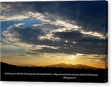 Canvas Print featuring the photograph God's Peaceful Sunset With Philippians 4-7 Scripture by Matt Harang