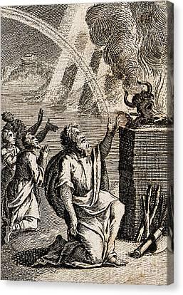 Gods Rainbow Answers Noahs Sacrifice Canvas Print by Wellcome Images