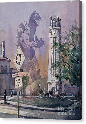 Godzilla Smash Ncsu- Raleigh Canvas Print by Ryan Fox