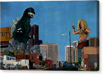 Godzilla Versus Shakira Canvas Print by Thomas Weeks