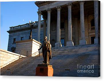 Front Steps Canvas Print - Goerge Washington In Front Of The Capitol Building In Columbia Sc by Susanne Van Hulst