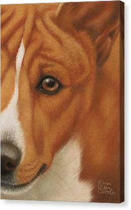 Goggie Basenji Canvas Print by Karen Coombes