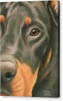 Goggie Doberman Canvas Print by Karen Coombes