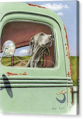 Dog In Landscape Canvas Print - Goin' For A Ride by Sarah Batalka