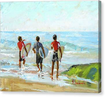 Going For The Surf Canvas Print by Dominique Amendola