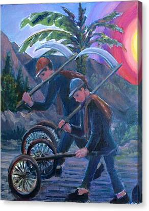 Canvas Print featuring the painting Going Home  by Laila Awad Jamaleldin
