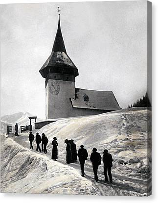 Going To Church On Christmas Morning Canvas Print by Swiss School