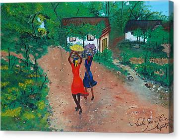 Canvas Print featuring the painting Going To The Marketplace 1 by Nicole Jean-Louis
