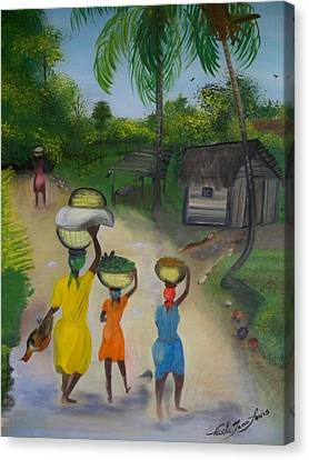 Going To The Marketplace 2 Canvas Print by Nicole Jean-Louis