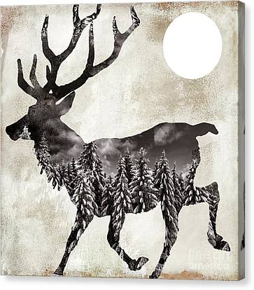Going Wild Deer Canvas Print by Mindy Sommers