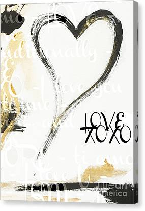 Gold And Black Artsy Heart Xoxo Canvas Print by WALL ART and HOME DECOR