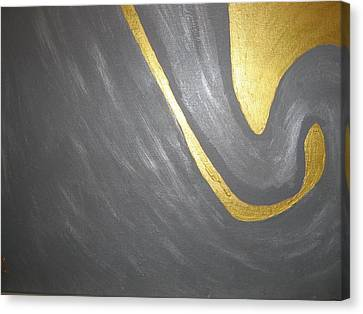 Canvas Print featuring the painting Gold And Gray by Barbara Yearty