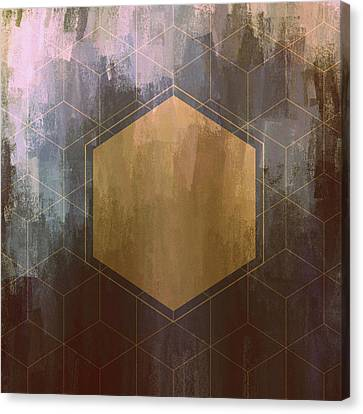 Gold And Purple Hexagon Canvas Print