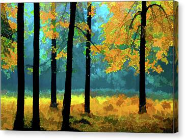 Canvas Print featuring the photograph Gold Anl Blue Autumn Day by Vladimir Kholostykh