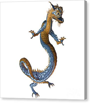 Gold Blue Dragon Canvas Print by Corey Ford