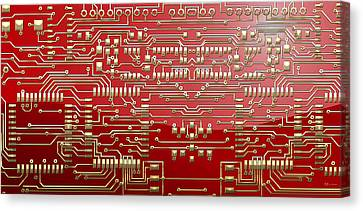 Gold Circuitry On Red Canvas Print by Serge Averbukh