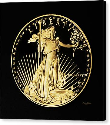 Gold Coin Front Canvas Print by Phyllis Denton