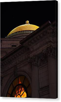 Canvas Print featuring the photograph Gold Dome At Night by Don Nieman