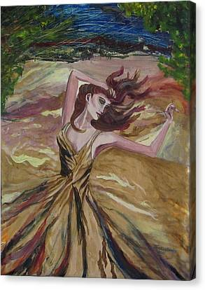 Gold Dress In The Wind Canvas Print by Penfield Hondros