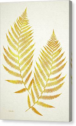 Canvas Print featuring the mixed media Gold Fern Leaf Art by Christina Rollo