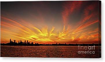 Gold Fingers - Ocean Sunrise With Water Reflections. Canvas Print by Geoff Childs