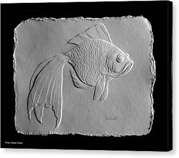 Canvas Print featuring the relief Gold Fish 1 by Suhas Tavkar
