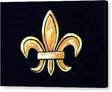 Gold Fleur De Lis On Black Canvas Print by Elaine Hodges