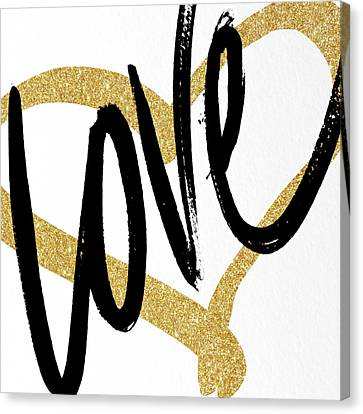 Gold Heart Black Script Love Canvas Print