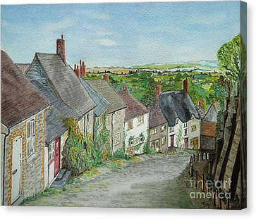 Gold Hill  Shaftesbury Canvas Print by Yvonne Johnstone