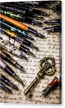 Gold Key And Fountain Pens Canvas Print