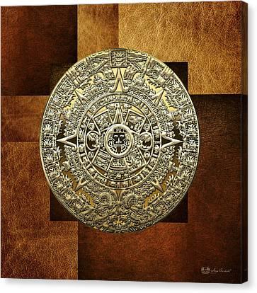 Mayan Mythology Canvas Print - Gold Mayan-aztec Calendar On Brown Leather by Serge Averbukh