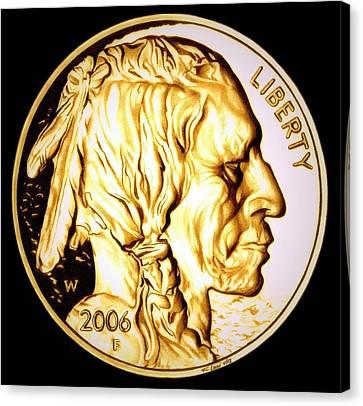 Gold Nugget Buffalo Nickel Canvas Print by Fred Larucci