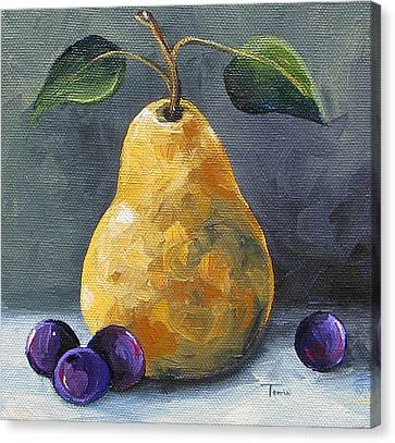 Gold Pear With Grapes II  Canvas Print by Torrie Smiley