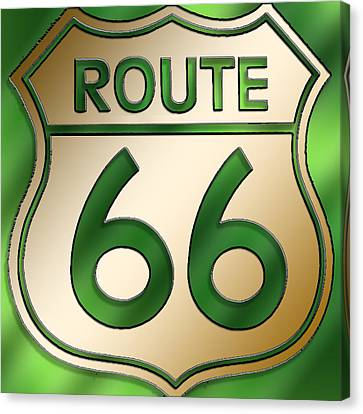 Canvas Print featuring the digital art Gold Route 66 Sign by Chuck Staley