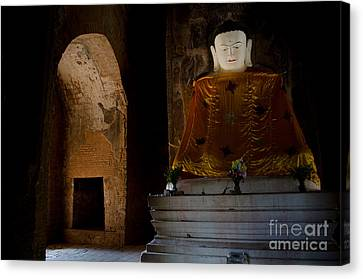 Gold Shrouded Buddha In Burma Basks In Natural Light By Temple Portal Canvas Print