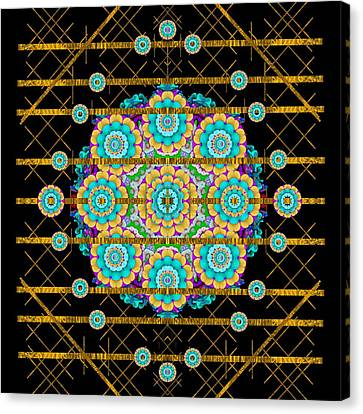 Gold Silver And Bloom Mandala Canvas Print by Pepita Selles
