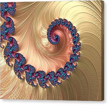 Lilacs Canvas Print - Gold Spiral With Passion Abstract by Marianna Mills