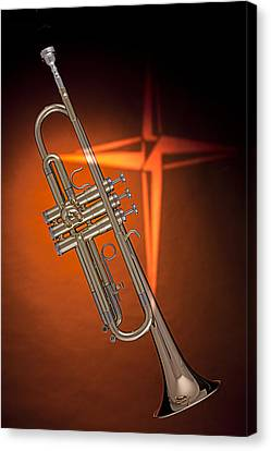 Gold Trumpet With Cross On Orange Canvas Print by M K  Miller