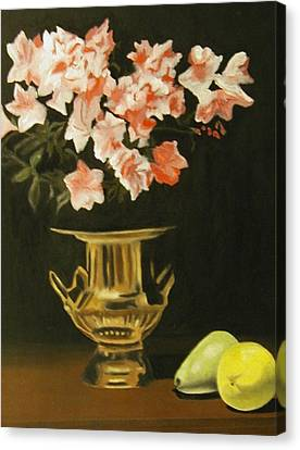 Gold Vase With Fruit Canvas Print by Angelo Thomas