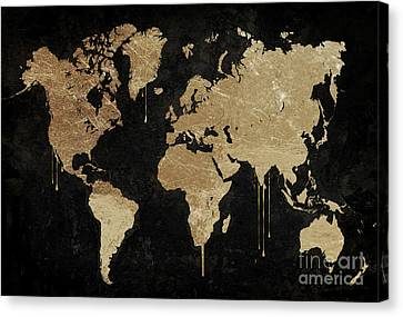 Gold World Map Canvas Print by Mindy Sommers