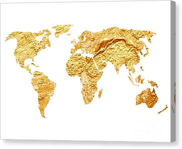 Gold World Map Watercolor Painting Canvas Print