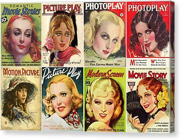 Golden Age Of Movies Magazine Covers Canvas Print