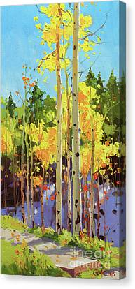 Giclee Trees Canvas Print - Golden Aspen In Early Snow by Gary Kim