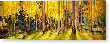 Golden Aspen In The Light Canvas Print by Gary Kim