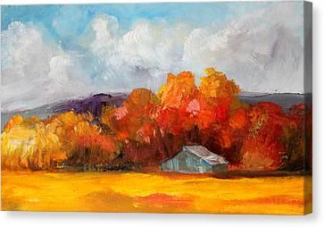 Golden Autumn Blue Country Horse Barn Canvas Print