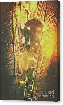 Golden Banjo Neck In Retro Folk Style Canvas Print