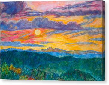 Canvas Print featuring the painting Golden Blue Ridge Sunset by Kendall Kessler