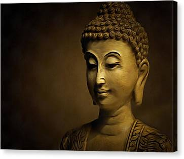 Golden Buddha Art - Contemporary Spiritual Buddhist Painting Canvas Print by Wall Art Prints